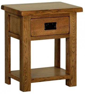 Devonshire Rustic Oak Bedside Cabinet - 1 Drawer
