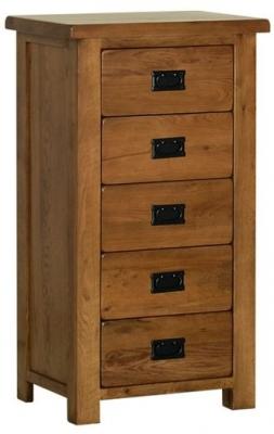 Devonshire Rustic Oak Bedside Cabinet - 5 Drawer