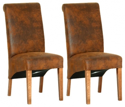 Devonshire Rustic Oak Bison Faux Fabric Dining Chair (Pair)