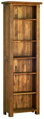Devonshire Rustic Oak Bookcase - Tall Narrow