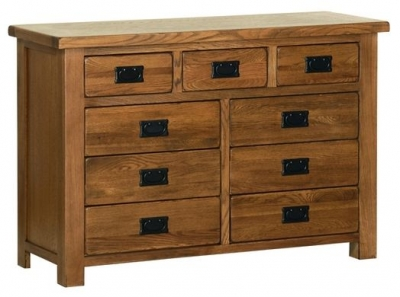 Devonshire Rustic Oak Chest of Drawer - 3+6 Drawer