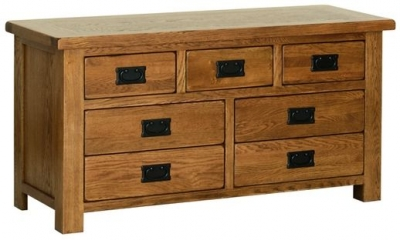 Devonshire Rustic Oak Chest of Drawer - Small 3+4 Drawer