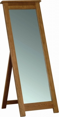 Rustic Oak Rectangular Cheval Mirror - 55cm x 142cm