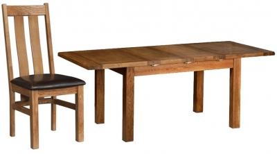 Devonshire Rustic Oak Dining Set - 2 Leaf Medium Extending Table with 4 Arizona Chairs