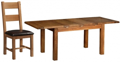 Devonshire Rustic Oak Dining Set - 2 Leaf Medium Extending Table with 4 Ladder Back Chairs