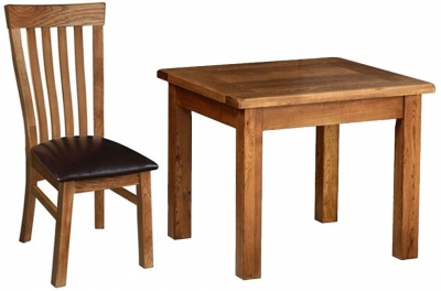 Devonshire Rustic Oak Dining Set - Large Fixed Table with 4 Toulouse Chairs