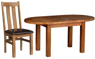 Devonshire Rustic Oak Dining Set - Small D End Extending Table with 4 Arizona Chairs
