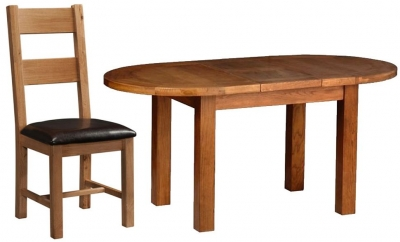 Devonshire Rustic Oak Dining Set - Small D End Extending Table with 4 Ladder Back Chairs