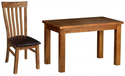 Devonshire Rustic Oak Dining Set - Small Fixed Table with 4 Toulouse Chairs