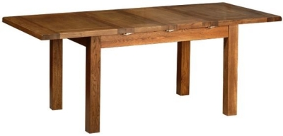 Devonshire Rustic Oak Dining Table - 2 Leaf  Medium Extending