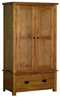 Devonshire Rustic Oak Wardrobe - Double 1 Drawer