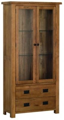 Devonshire Rustic Oak Glass Display Cabinet
