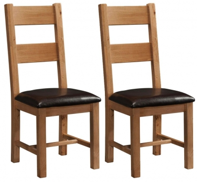 Devonshire Rustic Oak Dining Chair - Ladder Back (Pair)