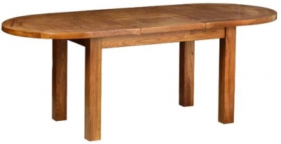 Devonshire Rustic Oak Dining Table - Large D End Extending