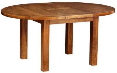 Devonshire Rustic Oak Dining Table - Round D End Extending