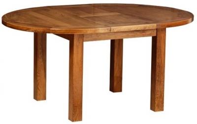 Devonshire Rustic Oak Dining Table - Round D End Extending
