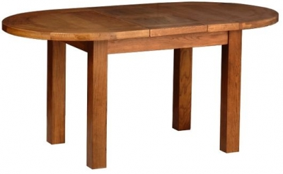 Devonshire Rustic Oak Dining Table - Small D End Extending