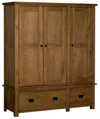 Devonshire Rustic Oak Wardrobe - Triple 2 Drawer