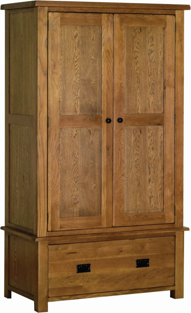 Devonshire Rustic Oak 2 Door 1 Drawer Wardrobe