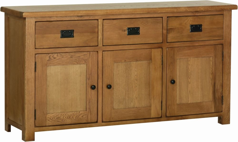 Devonshire Rustic Oak Large Wide Sideboard