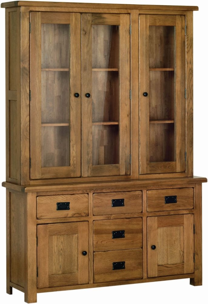 Devonshire Rustic Oak Large Glass Dresser Top