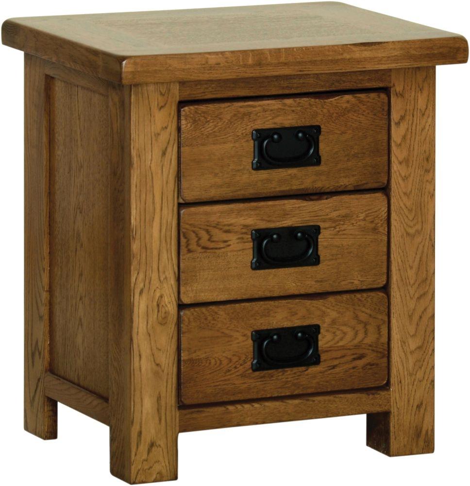 Devonshire Rustic Oak 3 Drawer Small Bedside Cabinet
