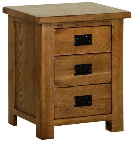 Devonshire Rustic Oak Bedside Cabinet - 3 Drawer