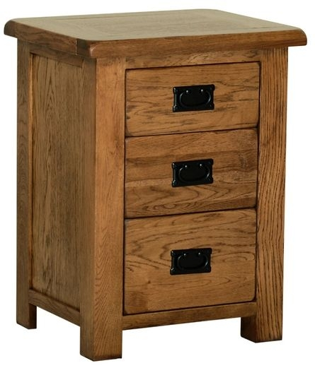 Devonshire Rustic Oak Bedside Cabinet - Large 3 Drawer