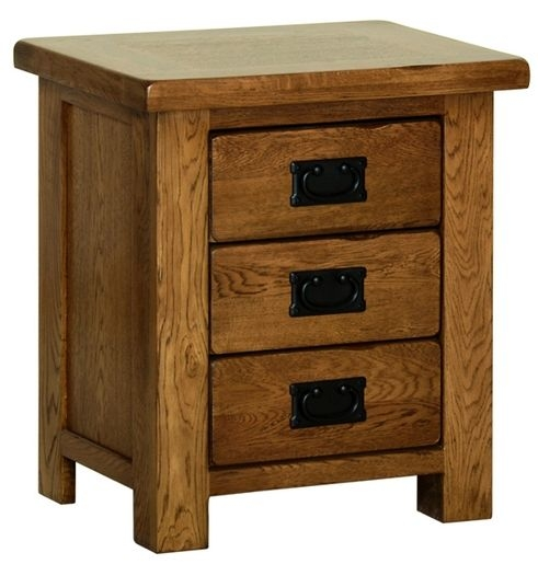 Devonshire Rustic Oak Bedside Cabinet - Small 3 Drawer