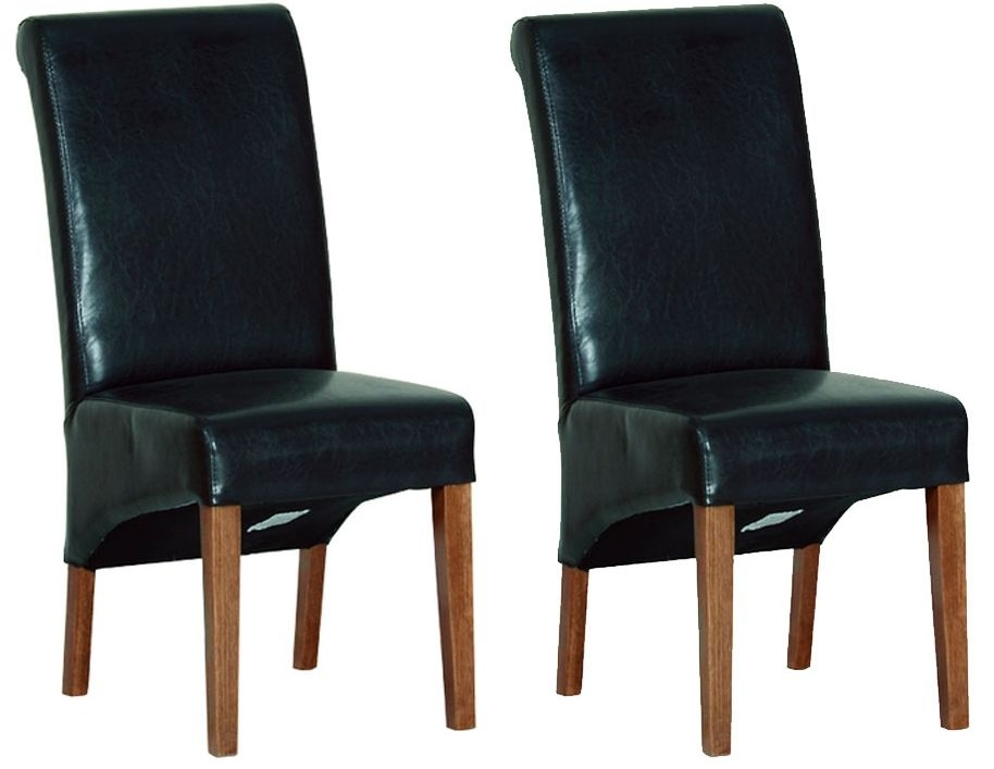 Devonshire Rustic Oak Dining Chair - Black Faux Leather (Pair)
