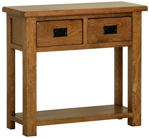 Devonshire Rustic Oak Console Table - 2 Drawer