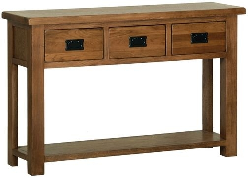Devonshire Rustic Oak Console Table - 3 Drawer