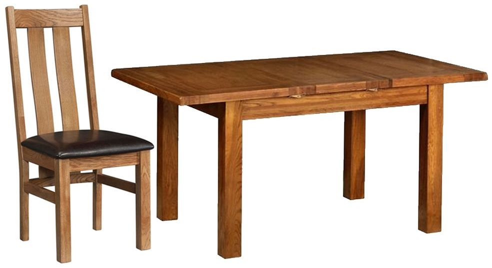 Devonshire Rustic Oak Dining Set - 1 Leaf Small Extending Table with 4 Arizona Chairs