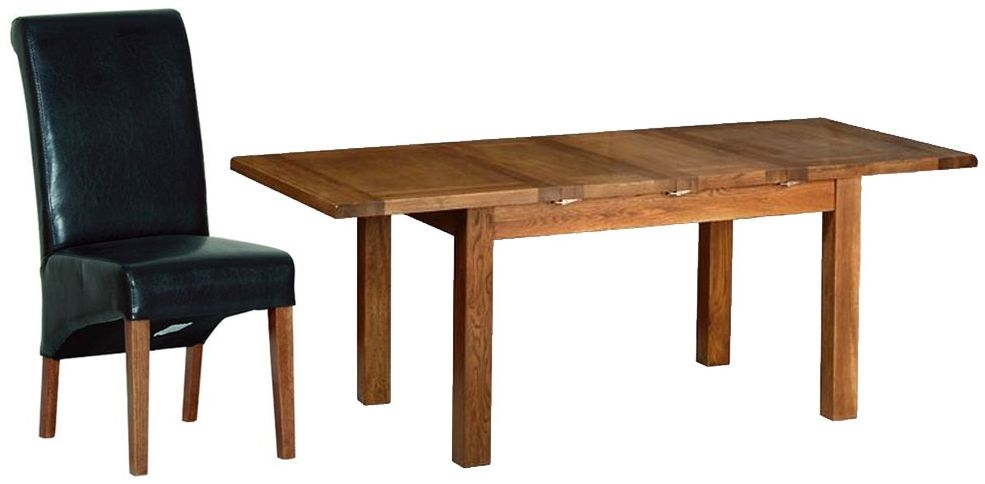 Devonshire Rustic Oak Dining Set - 2 Leaf Medium Extending Table with 4 Black Faux Leather Chairs