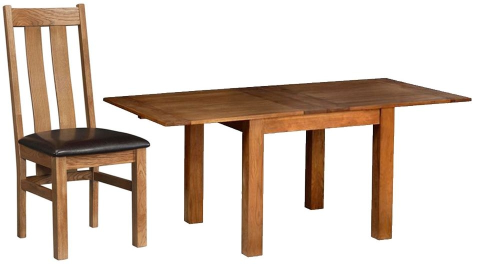 Devonshire Rustic Oak Dining Set - Flip Top Extending Table with 4 Arizona Chairs