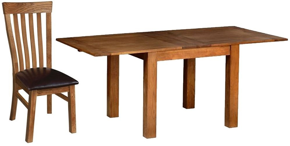 Devonshire Rustic Oak Dining Set - Flip Top Extending Table with  4 Toulouse Chairs