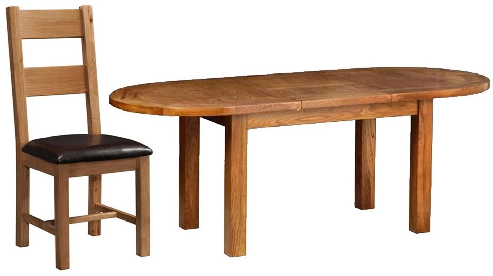 Devonshire Rustic Oak Dining Set - Large D End Extending Table with 6 Ladder Back Chairs