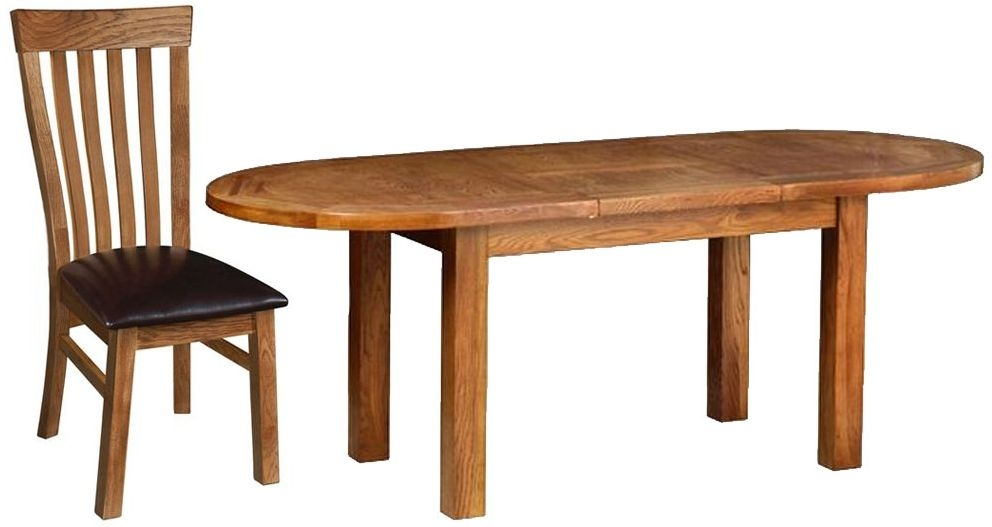 Devonshire Rustic Oak Dining Set - Large D End Extending Table with 6 Toulouse Chairs