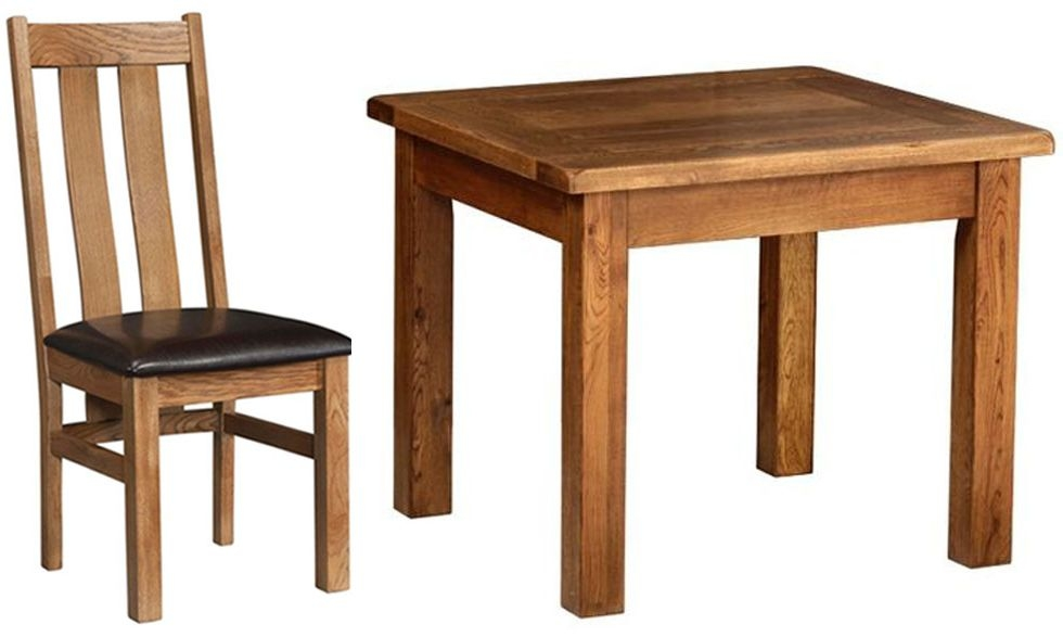 Devonshire Rustic Oak Dining Set - Large Fixed Table with  4 Arizona Chairs