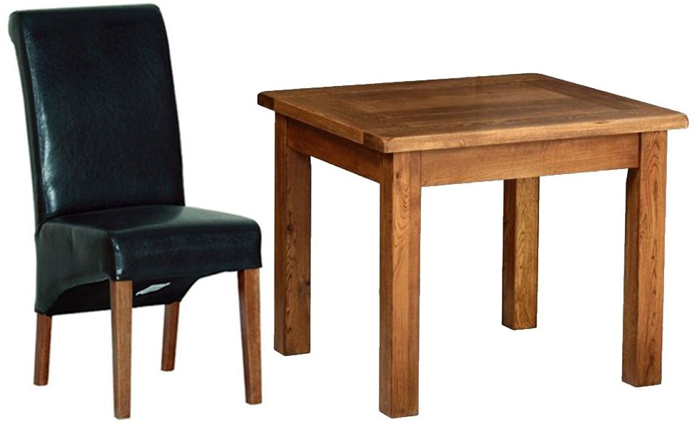 Devonshire Rustic Oak Dining Set - Large Fixed Table with  4 Black Faux Leather Chairs