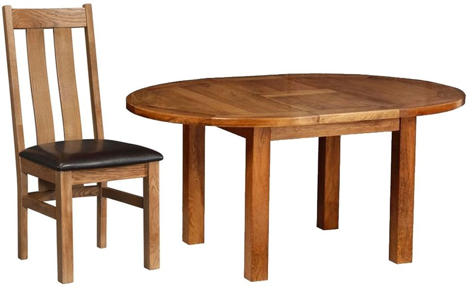 Devonshire Rustic Oak Dining Set - Round D End Extending Table with 4 Arizona Chairs