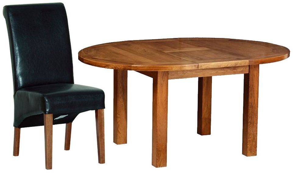 Devonshire Rustic Oak Dining Set - Round D End Extending Table with 4 Black Faux Leather Chairs