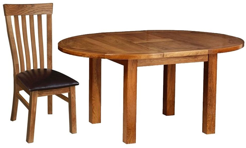Devonshire Rustic Oak Dining Set - Round D End Extending Table with 4 Toulouse Chairs