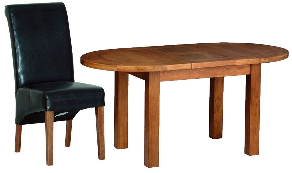 Devonshire Rustic Oak Dining Set - Small D End Extending Table with 4 Black Faux Leather Chairs