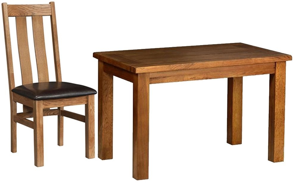 Devonshire Rustic Oak Dining Set - Small Fixed Table with 4 Arizona Chairs