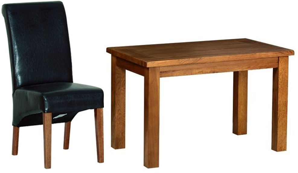 Devonshire Rustic Oak Dining Set - Small Fixed Table with 4 Black Faux Leather Chairs