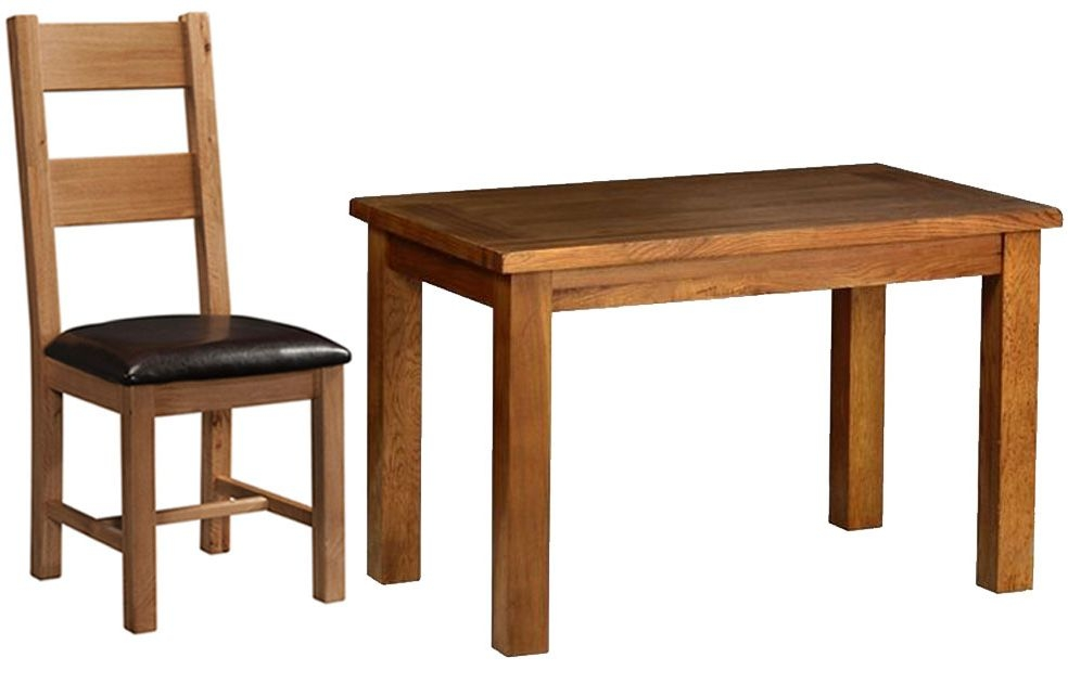 Devonshire Rustic Oak Dining Set - Small Fixed Table with 4 Ladder Back Chairs