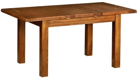 Devonshire Rustic Oak Dining Table - 1 Leaf  Small Extending