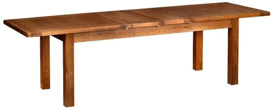 Devonshire Rustic Oak Dining Table - 2 Leaf  Large Extending