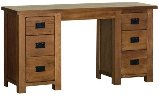 Devonshire Rustic Oak Dressing Table - Double Pedestal
